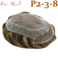 GM Hairpiece Fine Mono Mens Toupee Durable Hairpiece Human Hair Natural Hairline Replacement For Men