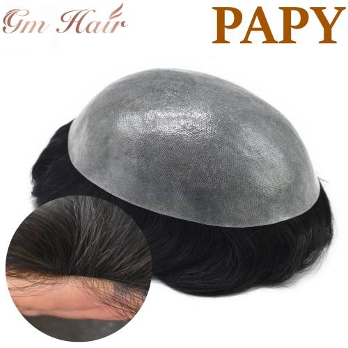 GM Hairpiece Mens Toupee Full Poly All Color Poly Skin Pu Remy Hair Replacement System for Men Hand Tied Wig