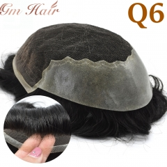 GM Hairpiece French Lace Front Mens Toupee Poly Lace Skin Hair System Mens Hairpiece Front Bleached Knot Natural Hairline Wig
