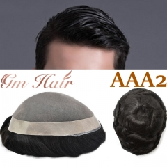 GM Hairpiece Fine Mono Mens Toupee 1'' Poly Coating Human Hair System Wig Hairpiece For Men