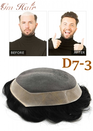 GM Hairpiece Durable Fine Mono Mens Human Hair Pieces For Sale, Easy Wear Poly Coated Around Non Surgical Pernament Stock Hair Replaceme D7-3