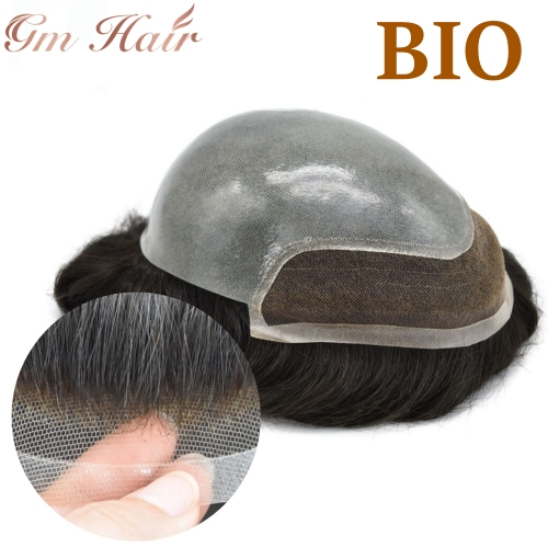 GM Hairpiece Mens Toupee Hair Replacement System Bleach Knot Natural Hairline Hairpiece Thin Skin Black Human Hair Poly Toupee