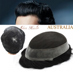 GM Hairpiece Mens Toupee French Lace Remy Virgin Hair System Replacement Poly Hairpiece Wig