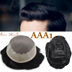 GM Hairpiece Fine Mono Mens Toupee Poly Coating Around Durable Hair System Human hair pieces