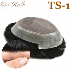 GM Hairpiece Fine Mono Mens Toupee Hairpiece Mono Clear Poly PU Hair Replacement Black Hair System