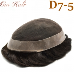 GM Hairpiece French Lace Mens Toupee Lace Poly Hairpiece Skin PU Around Human hair Replacement system for Men D7-5