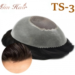 GM Hairpiece  Durable Mens Toupee Human Hair System Fine Mono Clear Poly Around Light Medium Wig