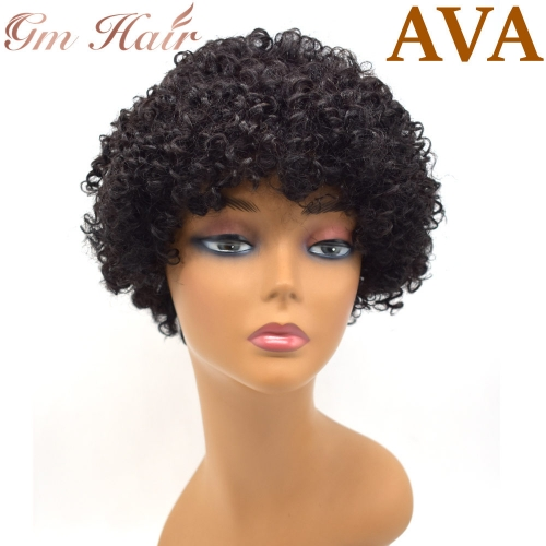 GM Hairpiece  US Women Afro Wig With Bangs Human Hair Kinky Curly Natural Black Lady Hairpiece 100% Human Hair AVA