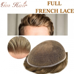 GM Hairpiece  Non Surgical Full French Lace Mens Hair System, Natural Breathable Lace Front Mens Toupee, 32mm Slight Wave Mens Hairpiece