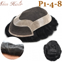 GM Hairpiece Lace Front Center Breathable Hairpiece Natural Hairline With PU Perimeter Around Durable Men Hair System