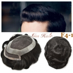 GM Hairpiece French Lace Center Men Toupee Clear Poly Coating Around Folded Lace Front Breathable Durable Hairpiece For Men Off Black Top Quality Hair