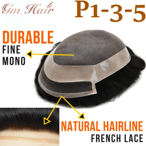 GM Hairpiece Human Hair Fine Mono Mens Toupee Welded Mono Durable Hair System Hairpiece Medium Density Wigs