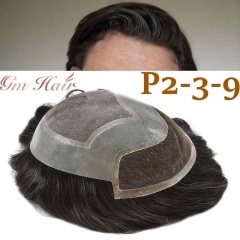 GM Hairpiece Human Hair Men's Toupee French Lace Front Hairpiece Bleach Indian Remy Hair Replacement System Hand Tied Skin PU Men's Wigs