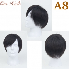 GM Hairpiece Men's Short Black Wig Human Hair Toupee Clip In  Hairpiece Wig For Daily Wear, Breathable & Comfortable Men's Hair System