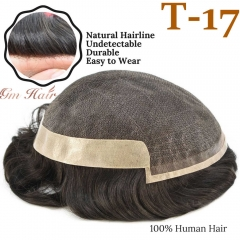 GM Hairpiece Fine Mono Men's Hair System T-17, Natural Lace Front Invisible Knots Mens Hair Piece, 32mm Slight Wave Mens Hair Toupee