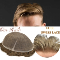 GM Hairpiece Swiss Lace Mens Toupee Hairpiece Full Lace Soft Hair Replacement System Transparent With Gray Hair wig