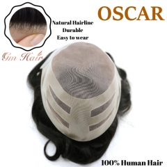 GM Hairpiece Fine Mono Mens Toupee Hairpiece Poly Coating Human Hair Replacement System OSCAR